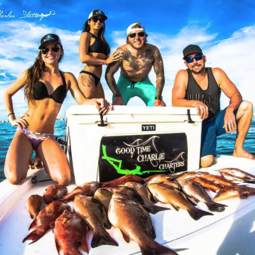 Our collaborator Good Time Charlie Charters with customers and some beautiful girls in Florida