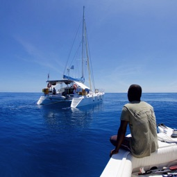 Catamaran off the coast of St. Lazarus Bank in Mozambique