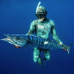 Andrea De Camilli into the blue with a Wahoo caught in Cape Verde